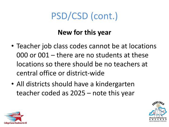 PSD/CSD (cont.)