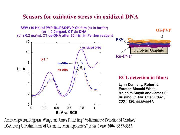 Sensors for oxidative stress via oxidized DNA