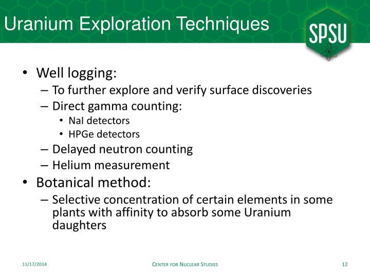 Uranium Exploration Techniques