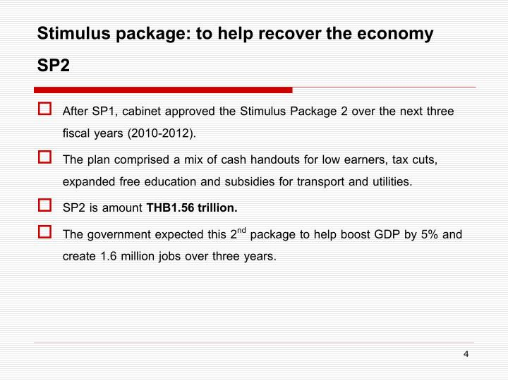 Stimulus package: to help recover the economy