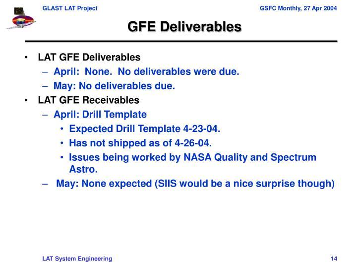 GFE Deliverables