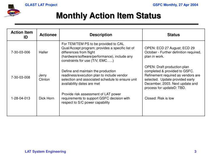 Monthly Action Item Status