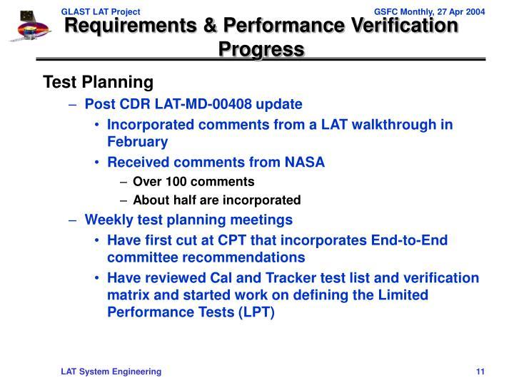 Requirements & Performance Verification Progress