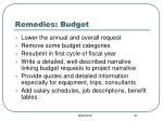 remedies budget
