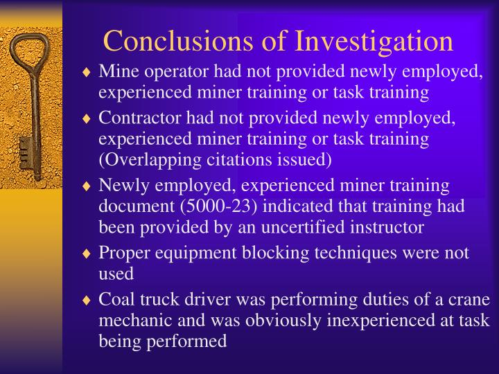Conclusions of Investigation