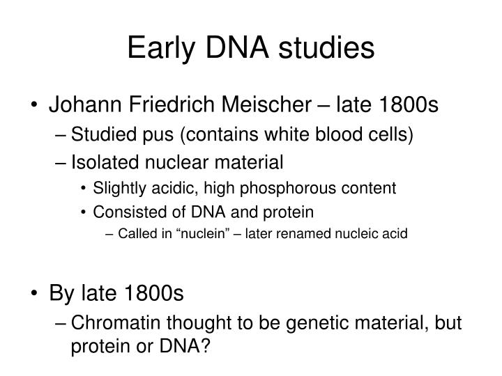 Early dna studies