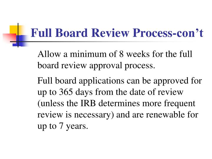 Full Board Review Process-