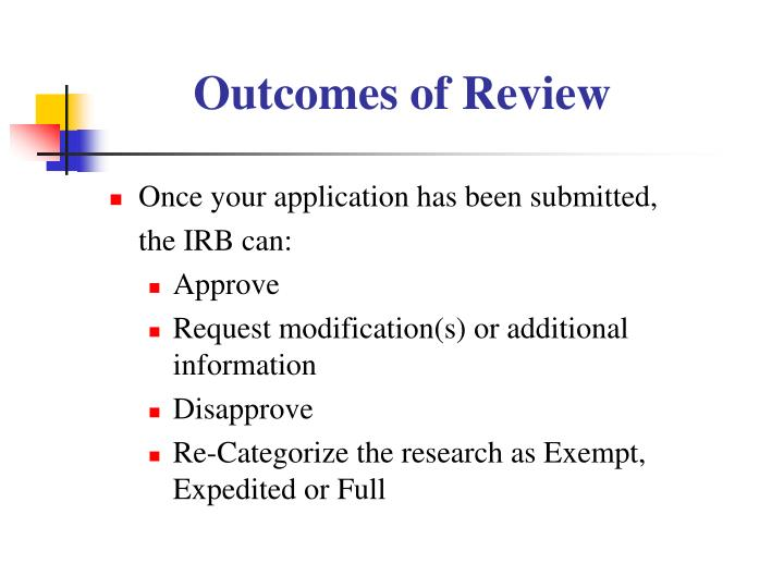 Outcomes of Review