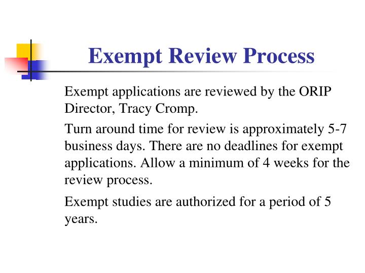 Exempt Review Process