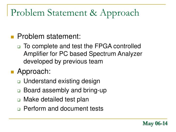 Problem Statement & Approach