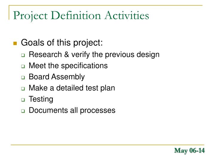 Project Definition Activities