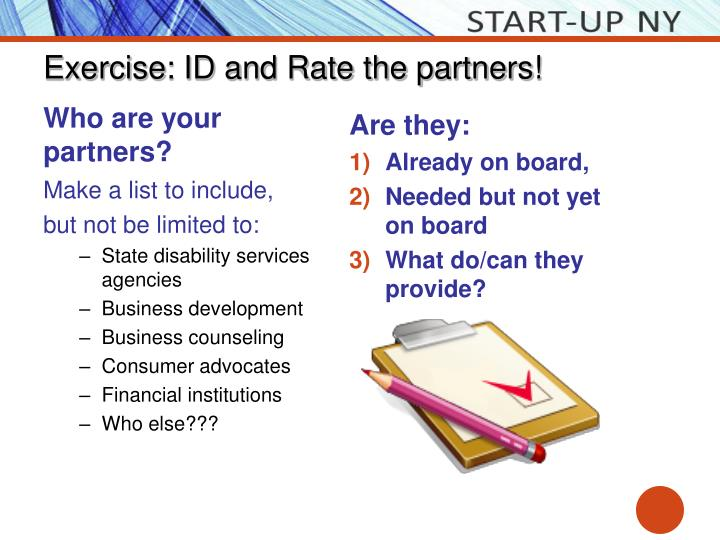 Exercise: ID and Rate the partners!