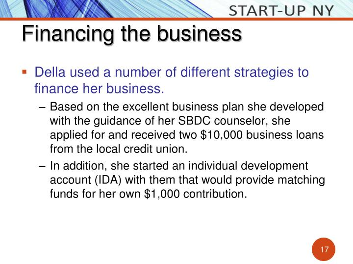 Financing the business