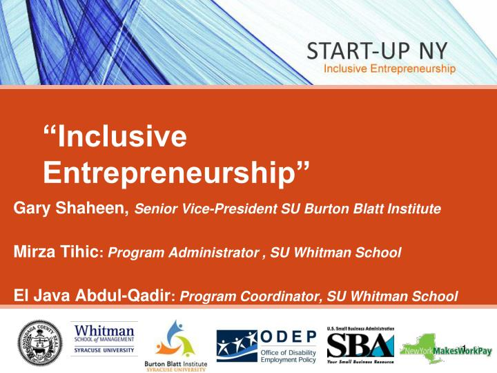 Inclusive entrepreneurship