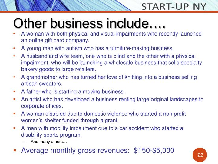 Other business include….