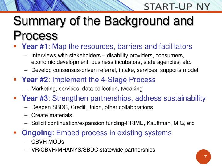 Summary of the Background and Process