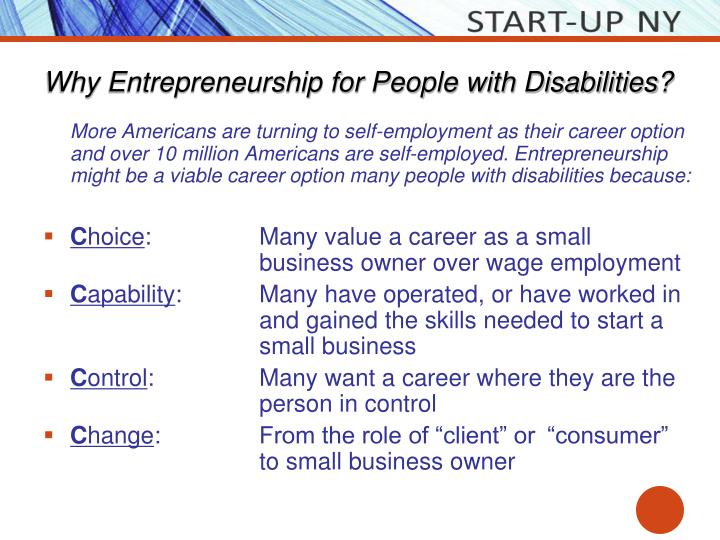 Why entrepreneurship for people with disabilities