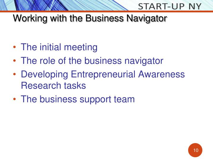 Working with the Business Navigator