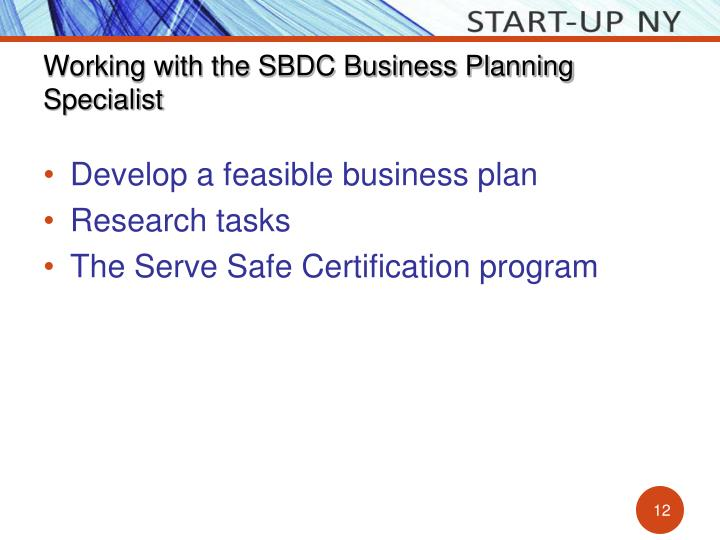 Working with the SBDC Business Planning Specialist