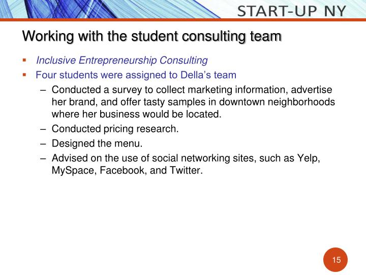 Working with the student consulting team
