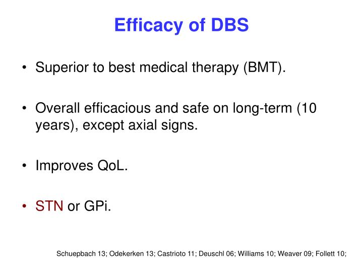 Efficacy of DBS