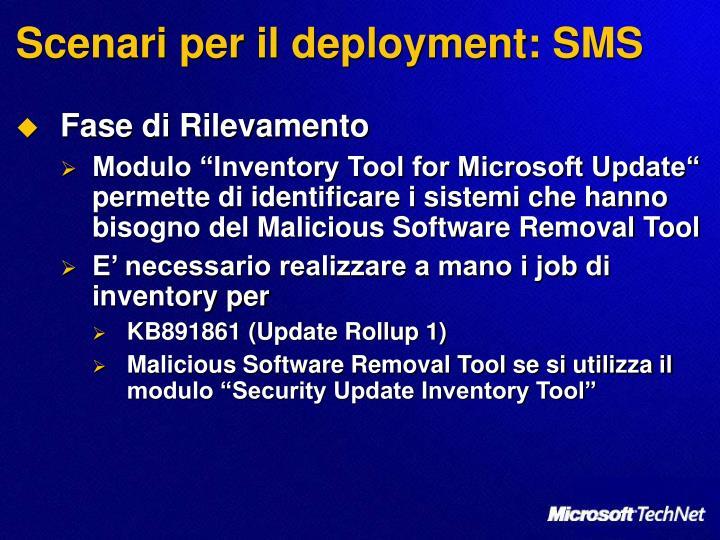 Scenari per il deployment: SMS