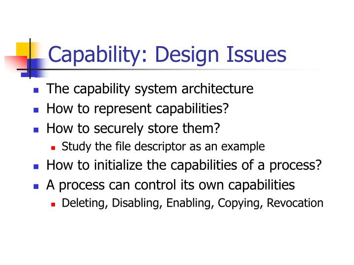 Capability: Design Issues