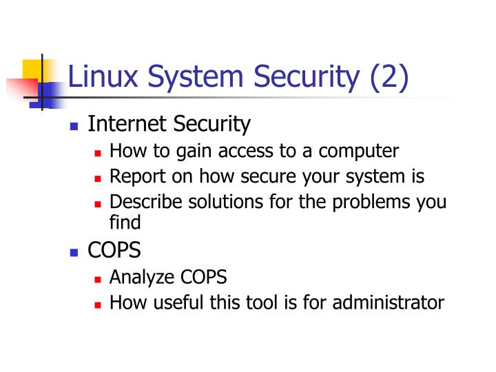 Linux System Security (2)