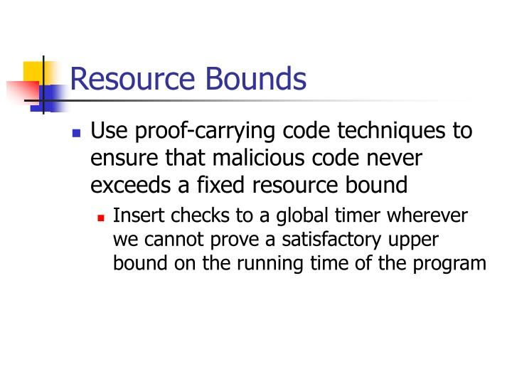 Resource Bounds