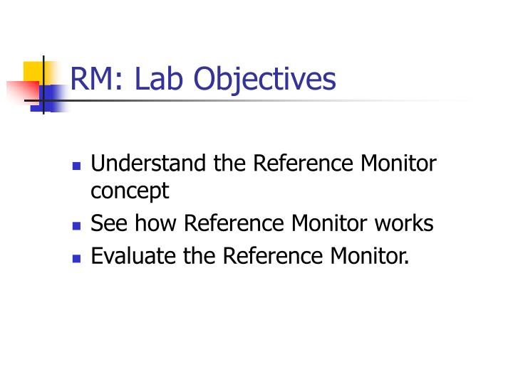 RM: Lab Objectives