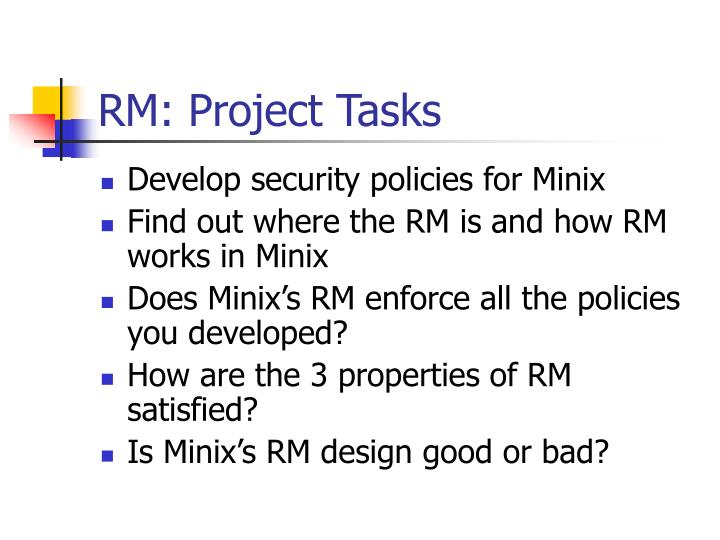 RM: Project Tasks