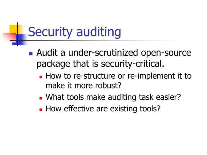Security auditing