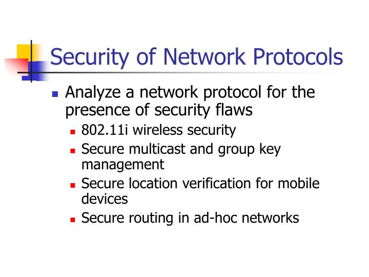 Security of Network Protocols