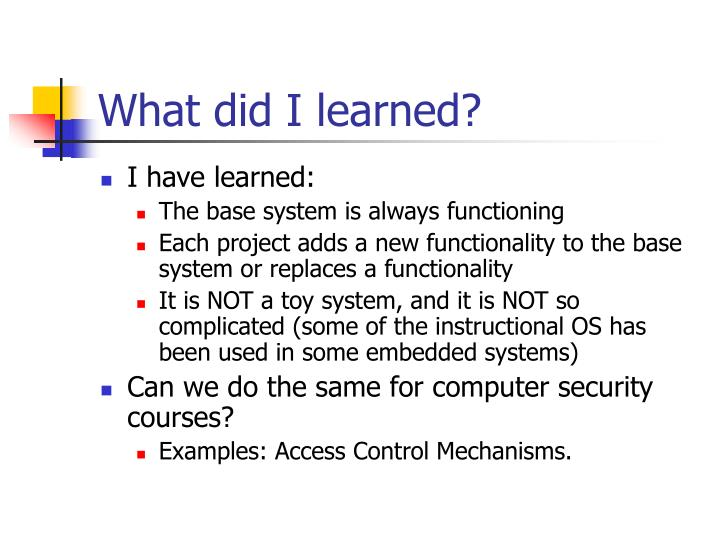What did I learned?