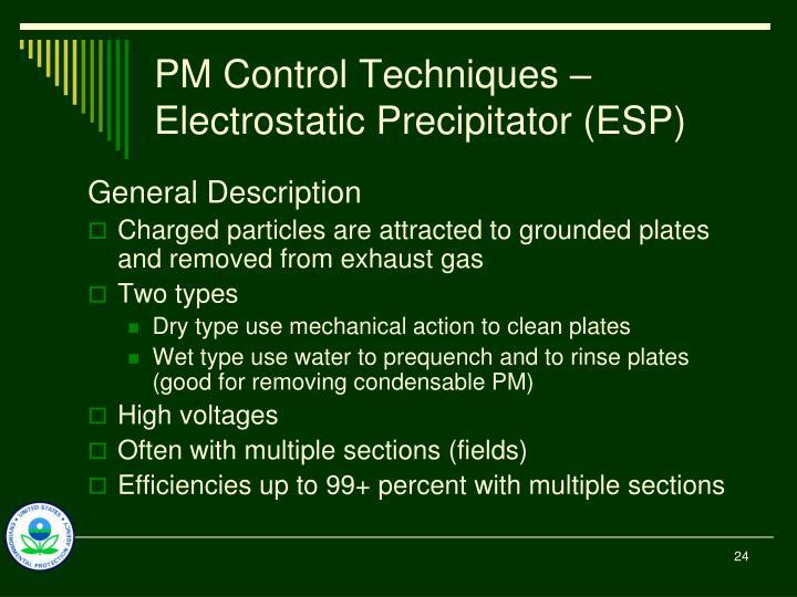 PM Control Techniques – Electrostatic Precipitator (ESP)