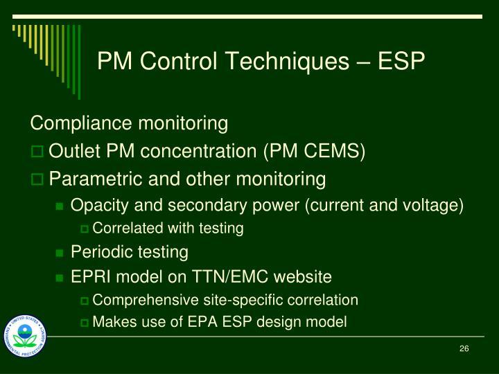 PM Control Techniques – ESP