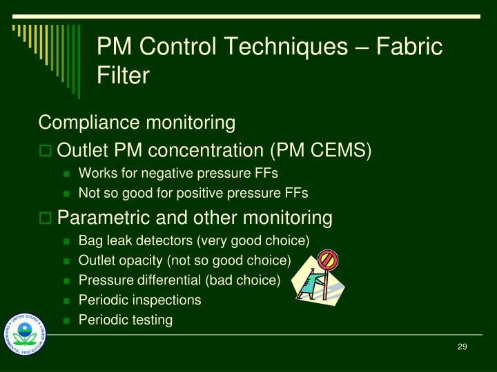 PM Control Techniques – Fabric Filter