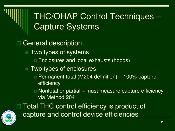THC/OHAP Control Techniques – Capture Systems