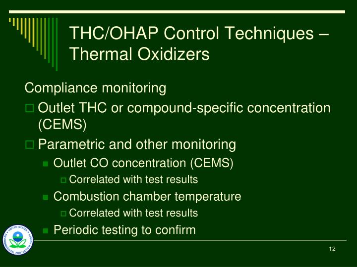 THC/OHAP Control Techniques – Thermal Oxidizers