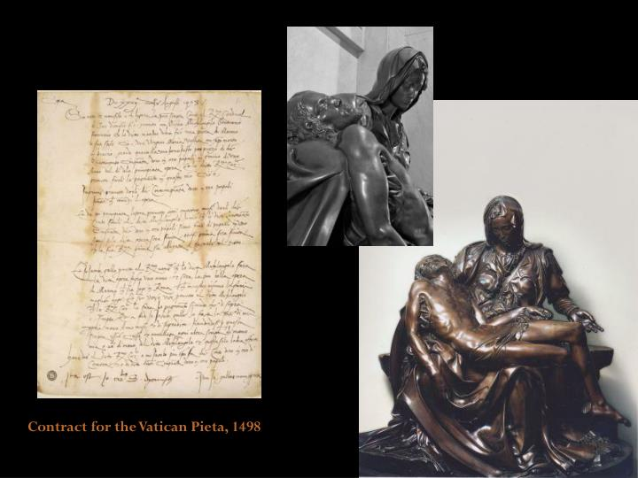 Contract for the Vatican Pieta, 1498