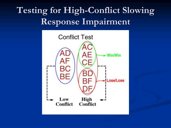 Testing for High-Conflict Slowing Response Impairment