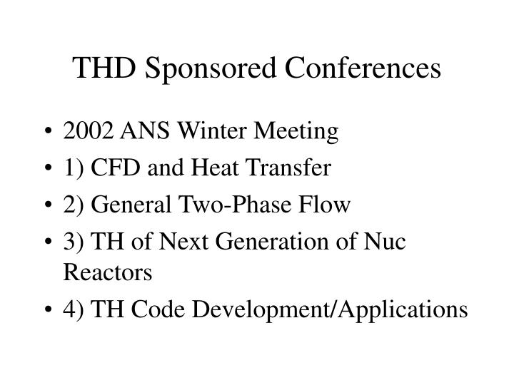 THD Sponsored Conferences