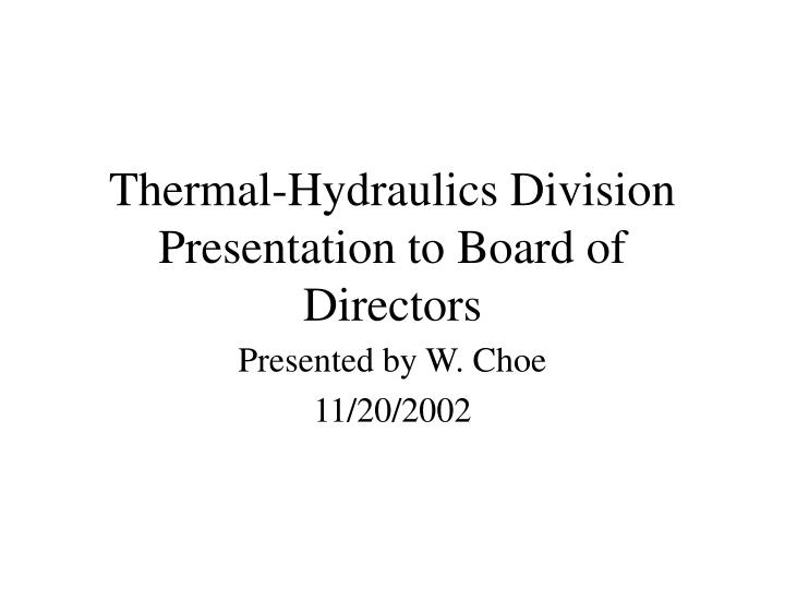 Thermal-Hydraulics Division Presentation to Board of Directors