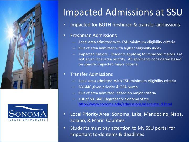 Impacted Admissions at SSU