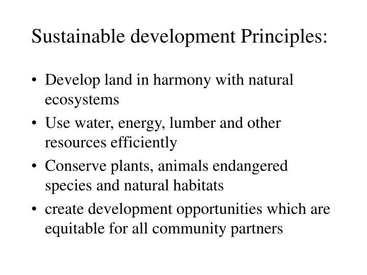 Sustainable development Principles: