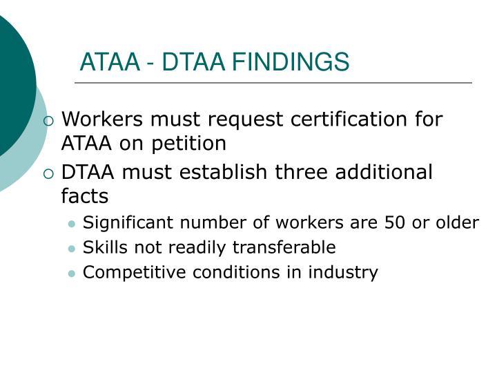 ATAA - DTAA FINDINGS