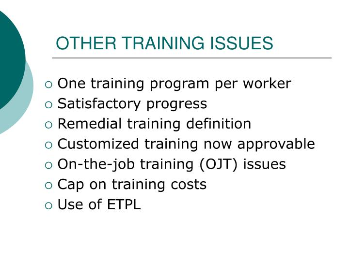 OTHER TRAINING ISSUES