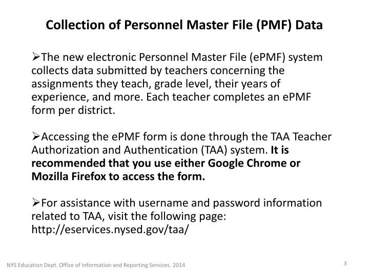 Collection of personnel master file pmf data