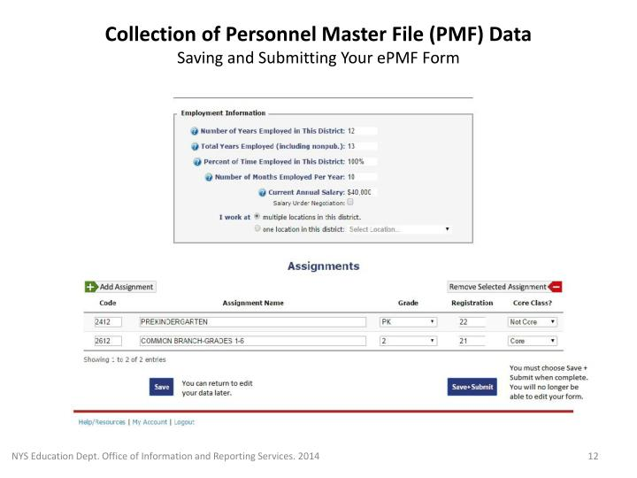 Collection of Personnel Master File (PMF) Data