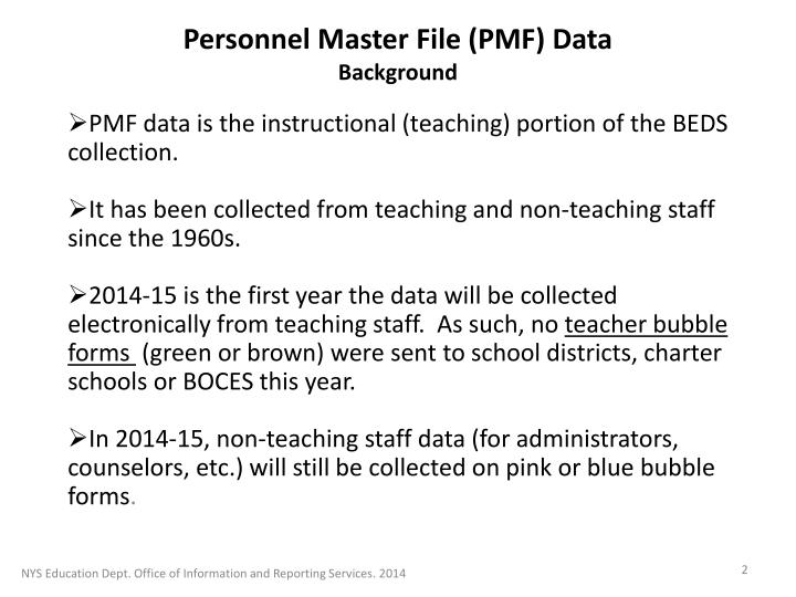 Personnel master file pmf data background